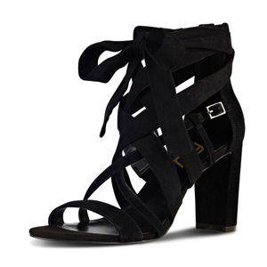 Size 4.5 Black Sexy Suede Strappy Heel